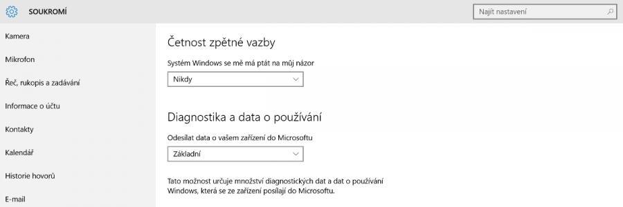 Víte, jaké informace posílají Windows 10 Microsoftu?